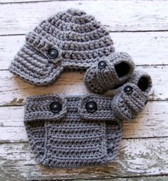 Oliver Newsboy Cap, Booties and Matching Diaper Cover In gray. Etsy.