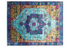 "One Kings Lane - Global Studies - 7'11""x10"" Sari Silk Lipari Rug, Blue"