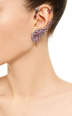 Pink Sapphire And Diamond Feather Earring by Wendy Yue for Preorder on Moda Operandi: