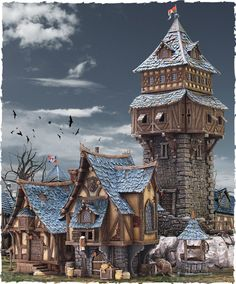 miniature fantasy houses - there are some amazing kits on this site to build medieval towns