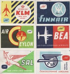 Vintage Airline posters   Illustration