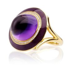 Sidney Garber Purple Haze Ring (£12,700) ❤ liked on Polyvore featuring jewelry, rings, multi, 18 karat gold jewelry, sidney garber, cabochon ring, purple jewellery and 18k jewelry