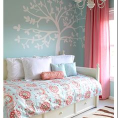 I am thinking coral and teal for Aubrey's next bedroom.  Maybe with a litte pale yellow and orange accents