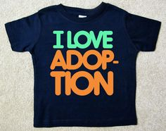 Toddler T - I LOVE ADOPTION (Navy Blue Shirt with Pale Green and Pale Orange Design) Incredibly Soft