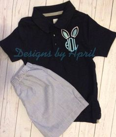 Easter Bunny Applique Polo Shirt  Great for by DesignsbyApril1234, $20.00