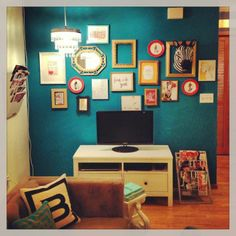 Gallery Wall + Benjamin Moore Surf Blue Paint