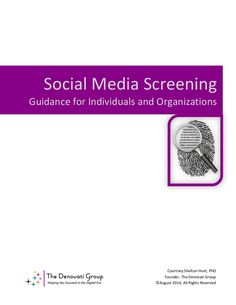 Social Media Screening: Guidance for Individuals and Organizations. Social media screening has become a common practice among recruiters and hiring managers, as well as coaches and college admissions offices. This white paper consolidates and updates previously shared guidance about this practice, providing recommendations for both individuals and organizations. Primarily focused on job candidates and employers, it can also be applied to students, athletes, admissions counselors and coaches.