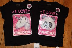 e1ca18fa9dead Primark Girls UNICORN PANDA EMOJI T Shirt Tee Top BRUSH SEQUINS 2 WAY