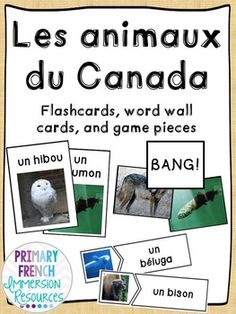 French - Canadian Animal Flashcards & Games - Les Animaux du Canada Grade 2 Science, Canadian Animals, Core French, French Immersion, Canada, Science Activities, Card Games, Literacy, Education
