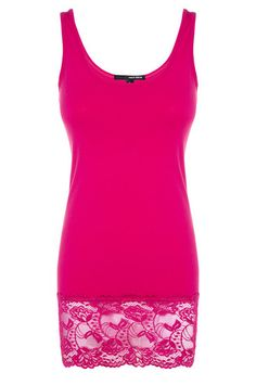 Bright Pink Lace Hem Vest Top #TALLYWEiJL #new #collection