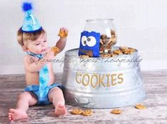 Baby Boy / Toddler First Birthday Cake Smash Diaper Cover Tie and Party Hat Outfit in Sesame Street's Blue Cookie Monster. $39.85, via Etsy.