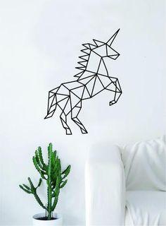 Geometric Unicorn Animal Design Decal Sticker Wall Vinyl Decor Art Living Room B. Tape Art, Tape Wall Art, Washi Tape Wall, Vinyl Wall Decals, Wall Stickers, Geometric Drawing, Geometric Wall, Geometric Animal, Geometric Designs