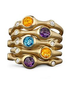Carelle Large Amethyst and Diamond Stack Ring   Bloomingdale's