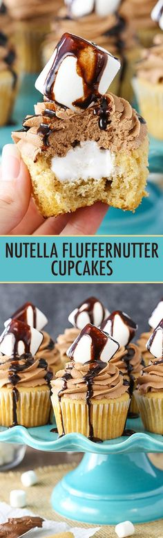 Nutella Fluffernutter Cupcakes - Moist peanut butter cupcakes filled with marshmallow fluff and topped with Nutella frosting! SO good!