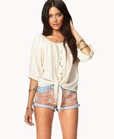 Crochet Lace Peaseant Top | FOREVER21 Would you tie it in a knot or a bow? love the entire outfit