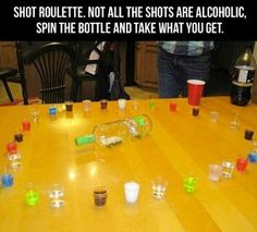 Great party game: Juice shots, Jell-O shots, mixed shots and the dreaded tequila shot!!