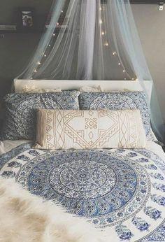 Grey, blue and white boho bedroom