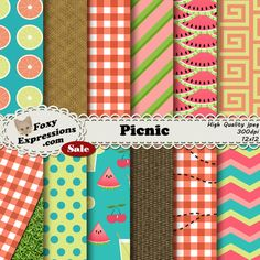 #New Foxy Item! See more at www.FoxyExpressions.com Picnic digital paper comes in colorful designs including picnic baskets and cloths with and w/o #ants, #watermelon, lemonade, cherries & more.  This pack is great for scrapbo... #new #foxyitem #sale #foxyexpress #lemonade #cherries #summer #spring #family #park #beach