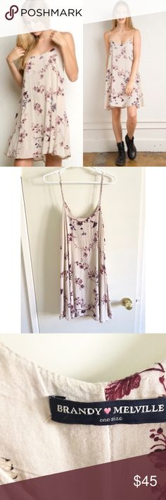 BRAMDY MELVILLE cherry blossom slip dress BM gaby cherry blossom dress. Worn several times but is in good condition. A little wrinkled from storage but can be ironed out. Non-adjustable straps.  All sales are final, no swaps/trades.  ✧・゚* discounted price on my depop (link in bio) Brandy Melville Dresses Midi