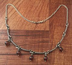 Retired James Avery Twisted Wire Bead Necklace w\ Garnet Rare #JamesAvery