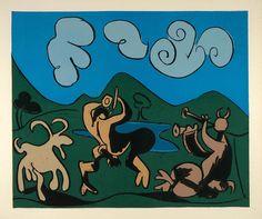 1962 Linocut Art Satyrs Goat Flute Player Dance Picasso - ORIGINAL PIC1 - Period Paper