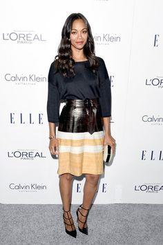 Pin for Later: Die schönsten Frauen feierten bei den Elle Awards in Los Angeles Zoe Saldana