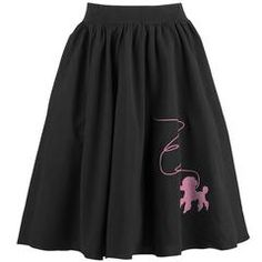 The Atomic Black Rockabilly Skirt with Pink Poodle features a black high waisted skater skirt with an A-line form, elastic waistband, and a pink poodle print. Pair with your favorite top to complete you sweet and fun look.