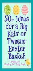 50+ Ideas for a Big Kids' or Tweens' Easter Basket -- Last week I shared 90+ Easter basket ideas for babies and toddlers. Tonight I got to thinking about big kids (anywhere up to age 10) and tweens (10-up to 14). Many of them still believe or have a younger sibling(s) and parents want to keep up the tradition for the whole family as well. I started thinking about what I would like to have received in an Easter basket as a tween or teen and before I knew it, I had a list of 50+ ideas. Check…