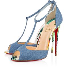 Christian Louboutin Senora ($895) ❤ liked on Polyvore featuring shoes, pumps, louboutin, t-bar shoes, open toe high heel shoes, christian louboutin pumps, high heel shoes and genuine leather shoes
