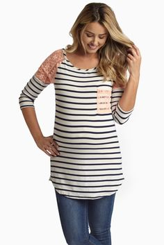 Peach-Lace-Shoulder-Striped-Maternity-Top