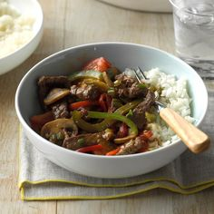 Mushroom Pepper Steak Recipe -A fast marinade flavors and tenderizes the sirloin steak in this colorful stir-fry. Garlic and ginger round out the taste. —Billie Moss, El Sobrante, California