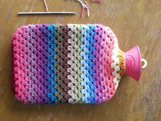 Crocheted hot water bottle cover!