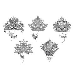 I have always loved this Indian style. Like henna. Black and white floral motifs of persian style vector. Lotus henna tattoo by Seamartini on VectorStock® Symbol Tattoos, Tattoos Mandala, Tatoo Henna, Tatoo Art, Body Art Tattoos, Tatoos, Geometric Tattoos, Half Mandala Tattoo, Octopus Tattoos