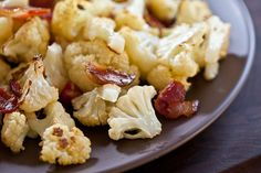 Roasted cauliflower with bacon and garlic