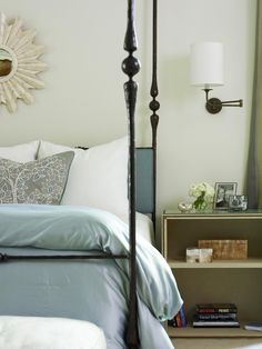 Using bookcases as nightstands.
