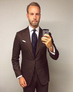 Grey blazer with navy piping, dark blue shirt, LVJ Haberdasher ...