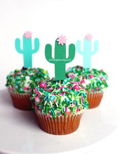 Cactus Toppers-cactus party-cactus cupcake toppers-fiesta