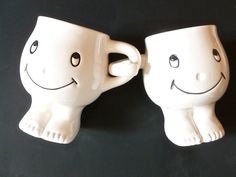Vintage Shiny Happy People Smiley Face Coffee Cups  by FunkAndMore, $18.00