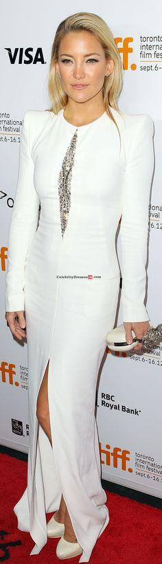 Kate Hudson red carpet long dress #white #formal #fashion #elegant
