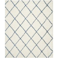 Found it at Wayfair - Moroccan Shag Ivory & Blue Geometric Contemporary Area Rug