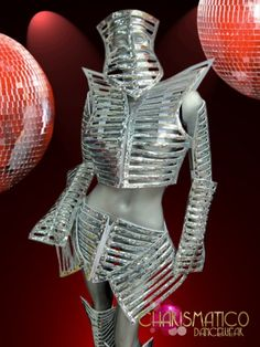 Lady Gaga inspired futuristic skeleton warrior costume in silver sequins