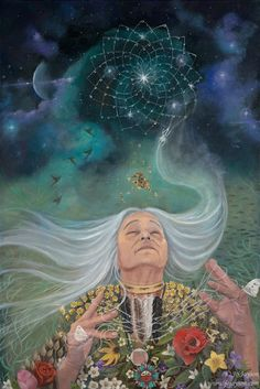 Grandmother Spider The Weaver Expressions of the Sacred Feminine « Jo Jayson – Artist Psychedelic Art, Native Art, Native American Art, Art Visionnaire, Spirited Art, Goddess Art, The Goddess, Celtic Goddess, Sacred Feminine