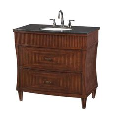 Home Decorators Collection Fuji 36 in. Vanity in Old Walnut with Granite Vanity Top in Black-1586100890 at The Home Depot