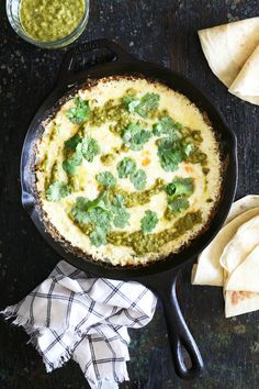This melty, gooey Roasted Poblano Queso Fundido recipe is a perfect appetizer for Cinco de Mayo!