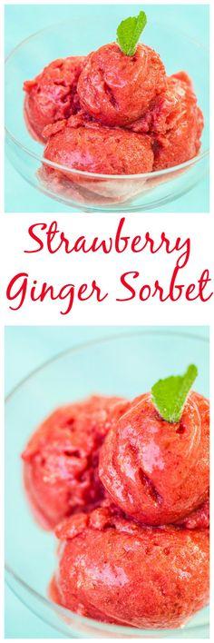 Strawberry Ginger Sorbet: a refreshing, dairy-free alternative to homemade ice cream. Ice Cream Desserts, Frozen Desserts, Frozen Treats, Gelato, Fresco, Dairy Free Alternatives, Dairy Free Ice Cream, Homemade Popsicles, Health