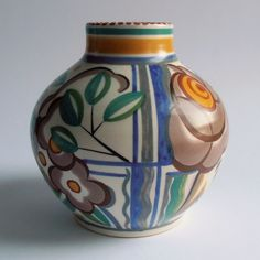 Poole Pottery hand painted Art Deco vase.