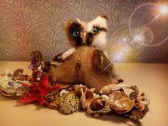 @magic.owl в Instagram: «Сова Вилейн  Авторская игрушка ручной работы. сухое валяние шерсти, мех норка, глаза стекло, можжевельник, морские звезды, ракушки, морской конёк, жемчужины…»