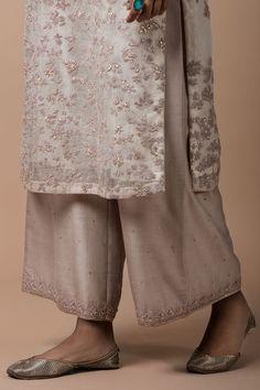 ivory lavender silk organza kurta with dori and zardozi embroidery, a chanderi farshi with zardozi embroidery on the hem, and a chanderi odhani with zardozi embroidered motifs, a tissue border and a hand-embellished trim Pakistani Dresses, Indian Dresses, Indian Outfits, Zardozi Embroidery, Embroidery Suits, Flower Embroidery, Embroidery Designs, Indian Attire, Indian Wear