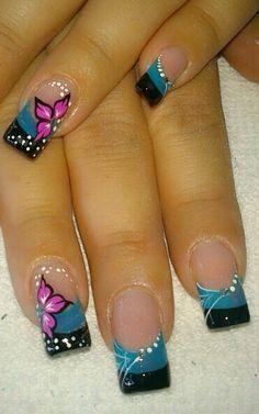 D' Ga Salón Pretty Nail Art, Cute Nail Art, Fingernail Designs, Nail Art Designs, Glitter Tip Nails, Nail Effects, Flower Nail Art, Fancy Nails, Purple Nails