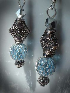Beautiful Light blue and silver dangle earrings by KimsKreationsNC, $12.00